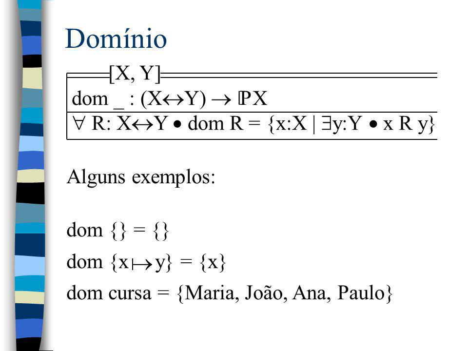Domínio [X, Y] dom _ : (XY)  X